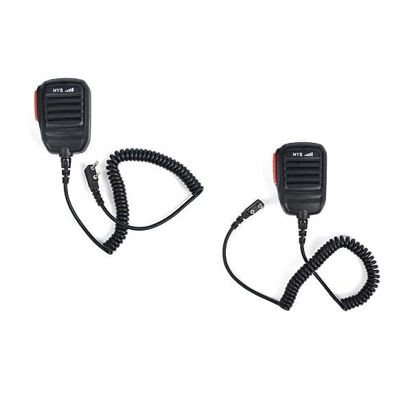 Two Way Radio 2 pin Microphone Portable Shoulder Radio Speaker for Walkie Talkie UV-5RB UV-5RC UV8 UV8D UVB5 BF-888s Ham Radio 2pcs 1 Pair