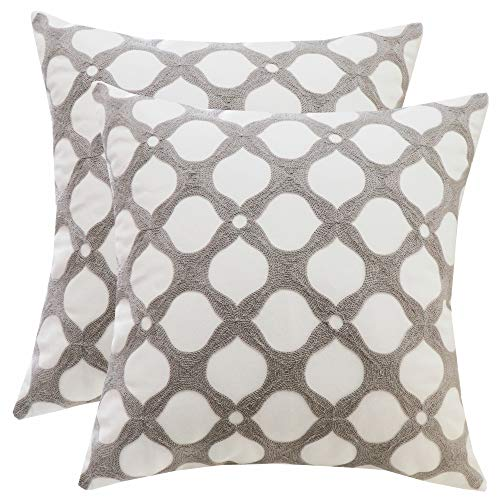 SLOW COW Cotton Embroidery Decorative Throw Pillow Covers for Couch Sofa Bedroom Geometric Pattern Cushion Covers 18 x 18 Inches Gray Grey (Sofa Cushion Pattern)