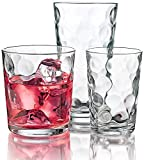 Palais Glassware Cercle Collection; Clear Glass Set with Circle Design (Set of 12 - 4, 7 Oz & 4, 13 Oz & 4, 17 Oz, Clear)