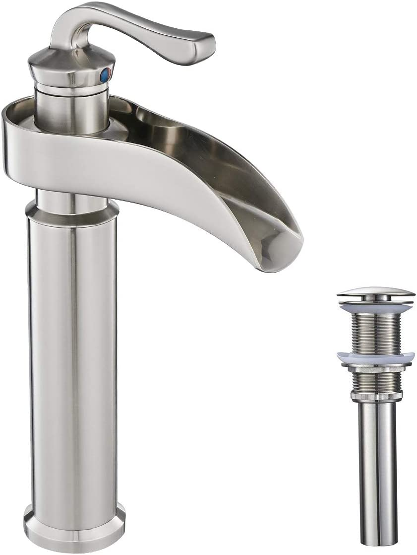 Greenspring Single Handle Bathroom Sink Vessel Faucet One Hole Deck Mount Lavatory Faucet With Pop Up Drain With Overflow And Water Supply Hoses Brushed Nickel