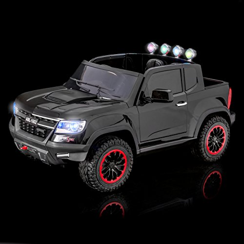 SUPERtrax Offroad Kid's Electric Ride On Car - 4 Wheel Drive, Electronic Steering Assist, Shock Absorbers, EVA Foam Rubber Tires, Functional Doors, Remote Control, Free MP3 Player - Gloss Black ()