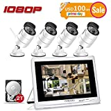 """YESKAMO Wireless Security Camera System 1080P 12"""" LCD HD Monitor 4 Channel 2.0 Megapixel CCTV Kit Built in 2TB Surveillance Hard Drive for Home Outdoor and Indoor Video Monitoring"""