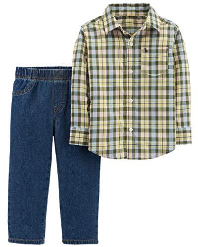 (Carter's Boys' 2T-4T 2-Piece Plaid Shirt and Pants Set (Yellow, Blue/Denim, 3T))