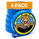 Tiger Tape-Painters Tape,Painters Tape 1 inch,6 Pack of Painters Tape,Blue Painters Tape,Masking Tape,94 Painters Tape,Best Painters TapeBlue Masking Tape,Painting Supplies,Wall Safe Tape,Paint Tape,
