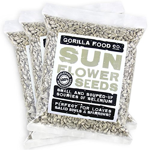 Gorilla Food Co. Sunflower Seeds Raw Hulled (No Shell) Unsalted - 3 Packs (1 Pound each) Resealable Bags