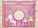 Girly Decor Fleece Throw Blanket Lady Sitting in front of French Cosmetic Make-Up Mirror Furniture Dressy Design Picture Throw