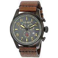 Akribos XXIV Ultimo reloj de acero inoxidable AK705BKBR para hombre con banda de cuero marrón