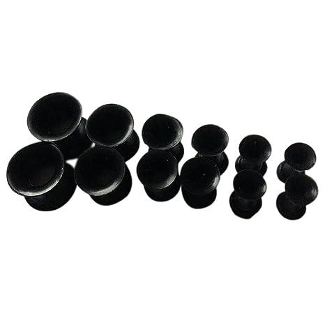 Espeedy Tapones para estiramiento de oídos,Negro 12pcs Ear Stretching Plugs Kit de estiramiento del