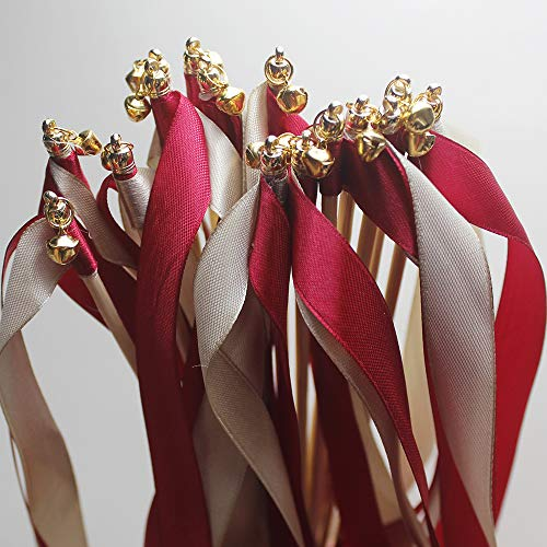 - zeman 24 pcs Champagne red Wedding Silk Wish Wands Ribbon Streamers with Bell Fairy Stick Party Favor for Baby Shower Holiday Celebration