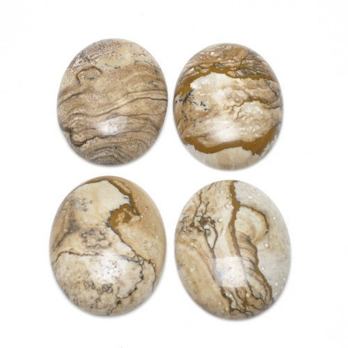 2 x Beige Picture Jasper 13 x 18mm Oval-Shaped Flat-Backed Cabochon - (CA16632-4) - Charming Beads - Picture Jasper Flat Oval Beads