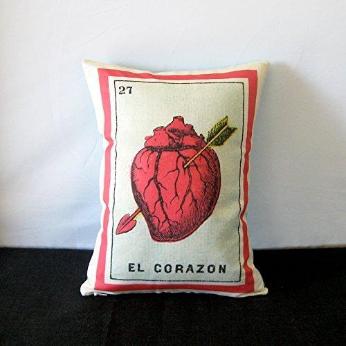 El Corazon (corazón) Loteria Mexicana almohada, alrededor de ...