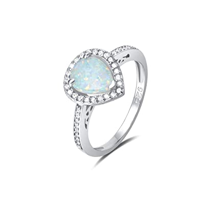 233a2d13d50b3 FANCIME 925 Sterling Silver White Created Opal Teardrop Halo Rings Gold  Plated Dainty Engagement Water Drop Rings for Women Size 5,6,7,8