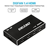 HDMI Switch, Premium 5 Port HDMI Switcher – 1080P 3D HDMI Splitter with IR Wireless Remote Control for HDTV Projectors Camcorders Laptop, Monitor HTPC PS3/4, Xbox 360 & more