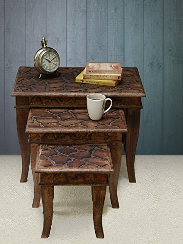 Store Indya Set Of 3 Wooden Nesting Tables Stackable Sitting Stools Hand  Carved With Distressed Carvings