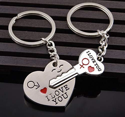 (1 Set (2 Pcs/Set) Couple Metal I Love You Heart Keychains Pendant Teen Ball Puff Fur Rabbit Key Label Perfect Popular Pocket Women Bag Car Keyring)