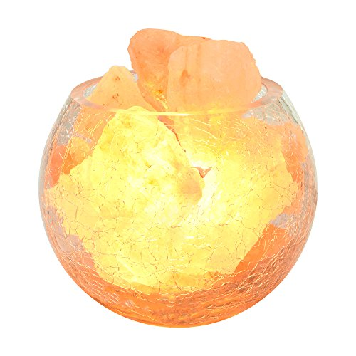 Natural Himalayan Salt Lamp Ionic Rock Dimmer Control Crystal Generate Negative Ions Salt Light For Bedroom Decorating SPA With 2pcsx15W Bulbs(10x10cm) by Unknown