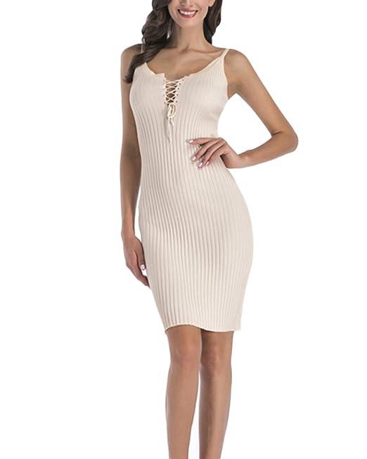 günstig neu kaufen große Auswahl an Farben und Designs Yonglan Damen Strick Kleid Strickkleid Pullover V-Ausschnitt ...