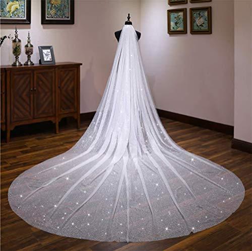 MDSQ Wedding Veil Starry Luxury Super Fairy Super Long Tailed Veil Bride Wedding Headdress, Length 400Cm