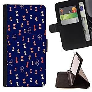 BullDog Case - FOR/Apple Iphone 5 / 5S / - / bow bowtie pattern blue hourglass /- Monedero de cuero de la PU Llevar cubierta de la caja con el ID Credit Card Slots Flip funda de cuer