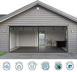 Garage Door Screen - 2 Car 16x7Ft Magnetic Closure Heavy Duty Weighted Bottom Screen Self Sealing Fiberglass Mesh Retractable Net - Easy Assembly & Pass-Through(Black)