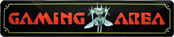 Gaming Area placa de calle cartel de chapa 46 x 10 cm str27 ...
