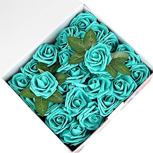 Febou Artificial Flowers, 50 pcs Real Touch Artificial Foam Roses Decoration DIY for Wedding Bridesmaid Bridal Bouquets Centerpieces, Party Decoration, Home Office Decor (Standard Type, Teal Green) (Teal Green Roses)