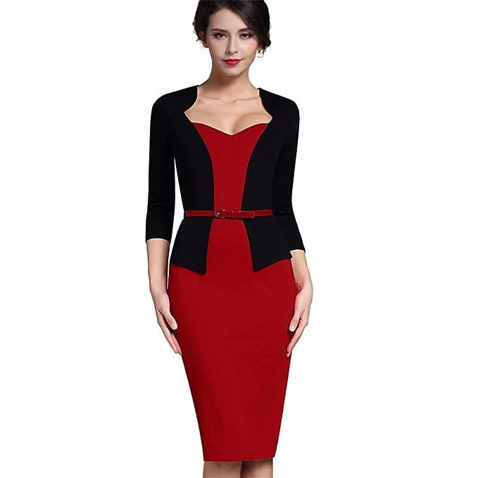 Una sola pieza elegante Faux Elegante chaqueta con cuello en V vestido de  Trabajo Oficina Bodycon hembra 3 4 vaina funda mujer vestido negro y rojo  XXL  ... e6155479c210