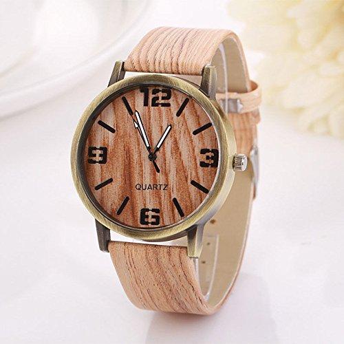 Vintage grano de madera relojes moda mujer reloj de cuarzo reloj de pulsera regalo caliente 6: Amazon.es: Relojes