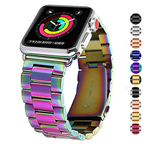 DELELE Compatible for Apple Watch Band 38mm 42mm 40mm 44mm, Quality Solid Stainless Steel Metal Replacement Bracelet Strap for iWatch Apple Watch Series 4/3 / 2/1 Women Men (Rainbow, 42mm/44mm)