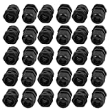 uxcell PG13.5 Waterproof Safety Nylon Cable Gland Connector Joints Black 30pcs