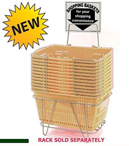 Prestige Line Tan Jumbo Hand Held Shopping Basket Set of 12 by shopping basket