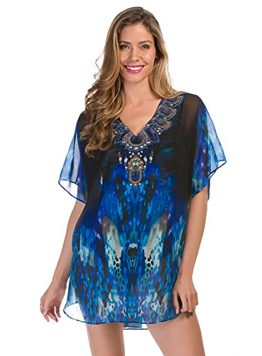 Miraclesuit Womens Barcode Cover-Up Tunic, M, Blue