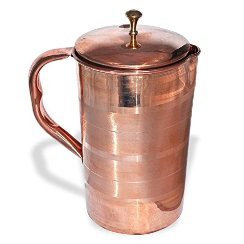 Kentucky Store Ayurvedic Pure Copper Water Jug Pitcher with Copper Lid copper Unique Traditional Utensil for Ayurvedic Healing