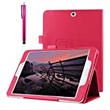 iPad Pro Case, JCmax Flip Synthetic Leather Case Cover [Automatic Wake/Sleep Function] [Corner Protection] for Apple iPad Pro (iPad 6) 12.9 Inch 2015 Model +Free Stylus -Hot Pink
