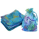 100pcs Blue Organza Jewelry bags, Marrywindix Candy Pouch Chocorate Pouch Party Wedding Favor Gift Bag