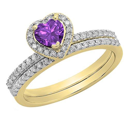 Dazzlingrock Collection 14K 5 MM Heart Amethyst & Round White Diamond Ladies Engagement Ring Set, Yellow Gold, Size ()