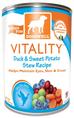 Dogswell Vitality for Dogs, Duck and Sweet Potato Stew Recipe, 13-Ounce Cans (Pack of 12), My Pet Supplies