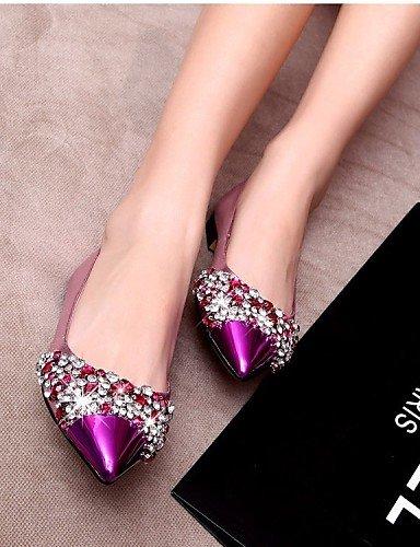 PDX vestido uk3 piel purple tarde mujer punta y us5 5 plano Flats Toe de eu36 y 5 cn35 de oficina Fiesta zapatos carrera morado talón azul rgpraF