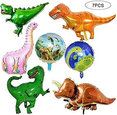 Sungpunet Lot de 7 Ballon géant Foil Dinosaure Jurassic World fête danniversaire Fournitures T-Rex Balloon Bouquet Décoration
