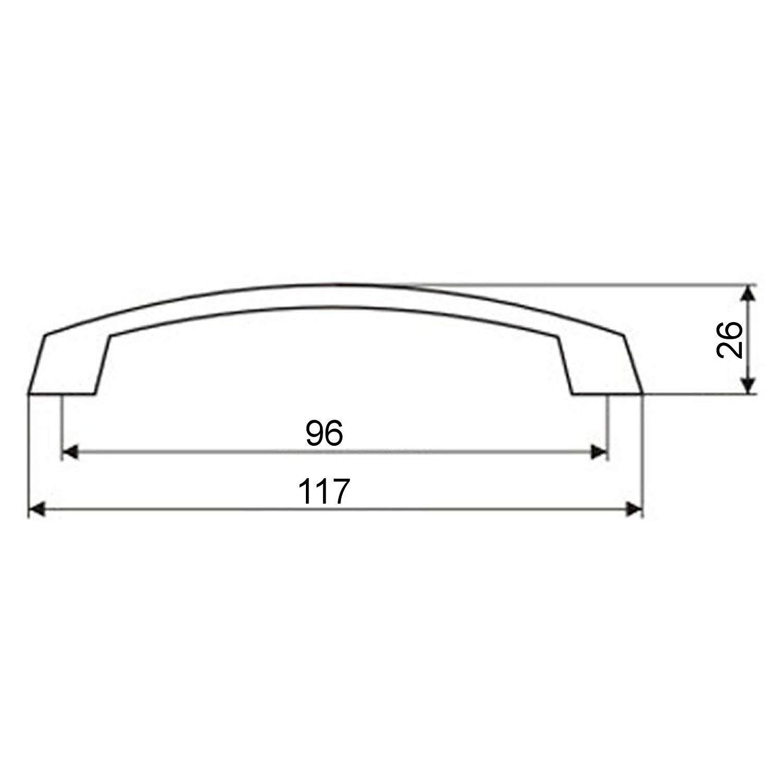 M/öbelgriff THEA BA 96 mm Messing geb/ürstet K/üchengriff Schubladengriff von JUNKER Design