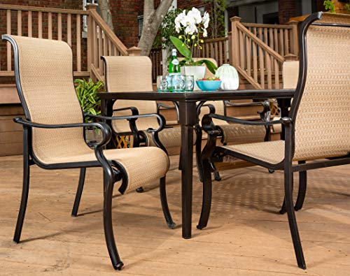 Brigantine 7-Piece Rust-Free Aluminum Outdoor Patio Dining Set with 6 Dining Chairs and Aluminum Rectangular Dining Table, BRIGANTINE7PC - Multi-step antique finish over rustproof aluminum frames on both table and chairs Anti-corrosion Interpol power coating on both table and chairs Tabletop features an attractive lattice pattern - patio-furniture, dining-sets-patio-funiture, patio - 51fIWK8WzDL -