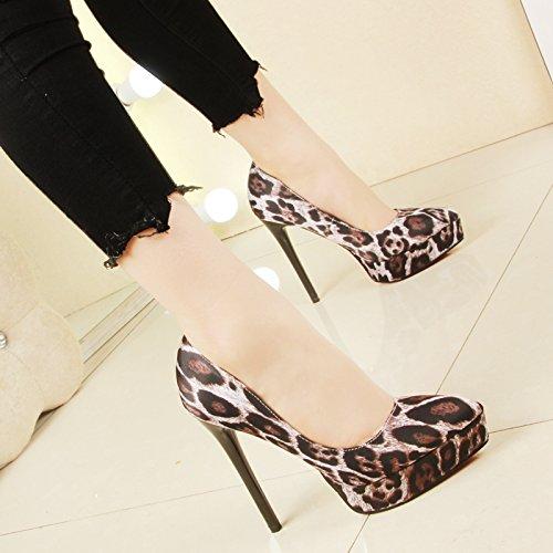 scarpe Apricot color tacchi Korean sottile punta scarpe scarpa nbsp;cm tacco alti 12 leopardato da raso Singles Edition a donna super teste SFSYDDY w81pRx
