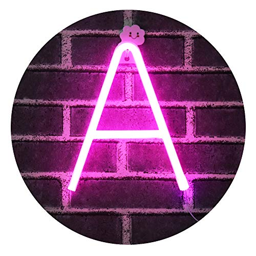 (Light Up Letters Neon Signs, Pink Marquee Letters Lights Wall Decor for Christmas, Birthday Party, Bar Valentine's Day Words-Pink Letter A)