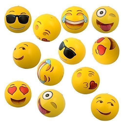 "Emoji Universe: 12"" Emoji Inflatable Beach Balls, 12-Pack"
