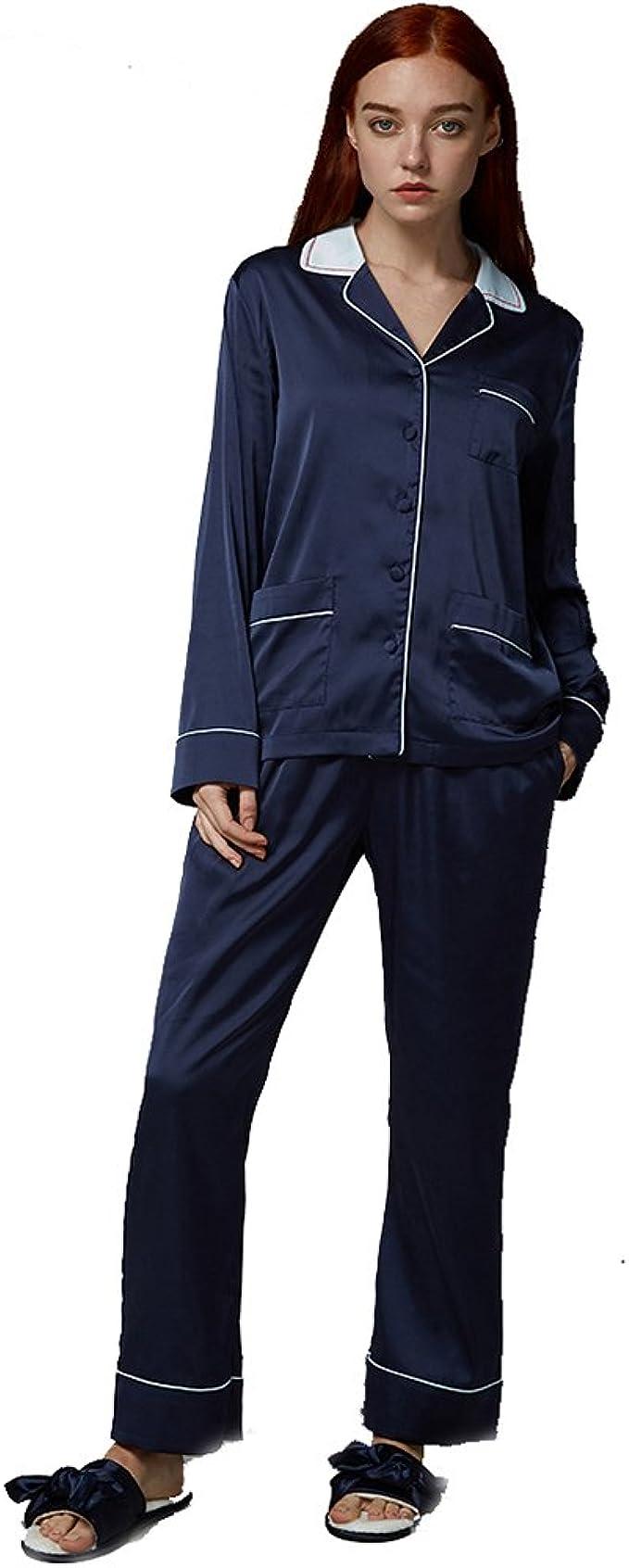 Color Puro Perder Pijama Conjunto Mujer, Manga Larga Azul ...