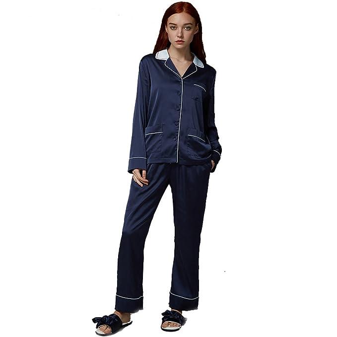 Color puro perder pijama conjunto mujer,Manga larga azul marino dormir botón abajo loungewear con
