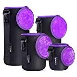 waka [4 Pack] Thick Protective Neoprene Camera Lens Pouch Set with Cover, Camera Lens Case for DSLR Camera Lens (Canon, Nikon, Sony, Olympus, Panasonic) - Small, Medium, Large, Extra Large