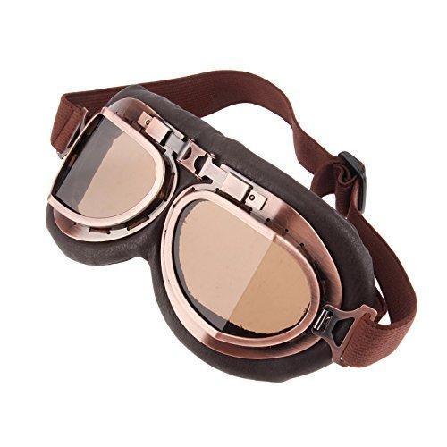 MUXSAM Helmet Steampunk Vintage Goggles Sunglasses Eyewear for Outdoor Sports Motocross Racer - Tea Len