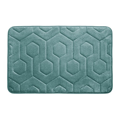 "Bounce Comfort Hexagon Memory Foam Bath Mat, 17 by 24"", Marine Blue -  YMF Carpets Inc., YMB004316"