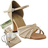 Women's Ballroom Dance Shoes Tango Wedding Salsa Dance Shoes Tan Leather & Flesh Mesh 6027EB Comfortable - Very Fine 2.5'' Heel 8 M US [Bundle of 5]